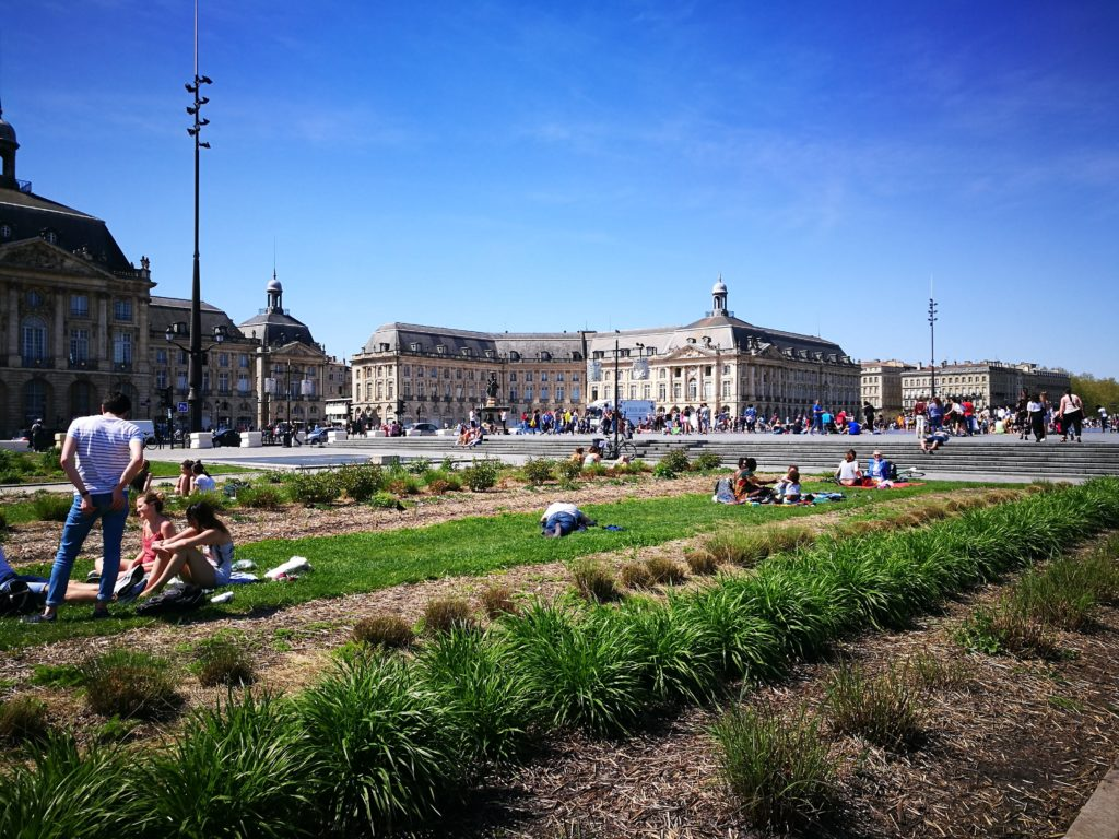 picnic next to Miroir d'eau in Bordeaux